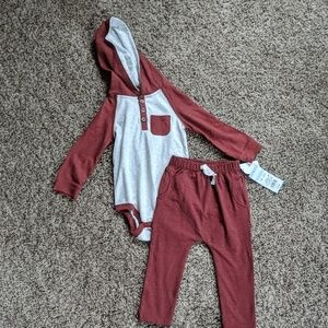 Cat & Jack 2 PC outfit, Maroon Fox